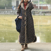 Single Breasted Autumn Winter Jacket Floral Style Cotton Padded Trench Coat Hooded Women Jacket Quilted Long Windbreaker