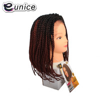 Eunice Ombre Hair Senegal Wig Black/Purple/350 16 Short Bob Synthetic Lace Front Wigs Crochet pre braided 2X Twist Braids Wig