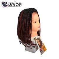 Eunice Ombre Hair Senegal Wig Black/Purple/350 16 Short Bob Synthetic Lace Front Wigs Crochet pre braided 2X Twist Braids Wig