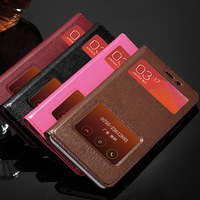Luxury Dual Window 100 Retro Real Genuine Leather Phone Fundas Coque Case For Xiaomi Redmi Note