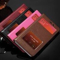 Luxury Dual Window 100 Retro Real Genuine Leather Phone Fundas Coque Case For Xiaomi Redmi Note