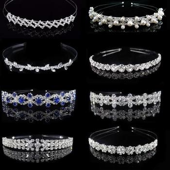Nuevos accesorios para el cabello de boda para mujeres niñas diadema pelo ornamentos tocado cristal azul corona joyería para el cabello