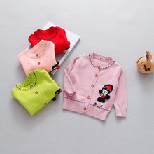 1-4 year girls sweater jacket 2018 spring new quality woven doll breasted cotton knitted coats childrens green/red outwear