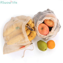 2PCS/Set Environmentally Friendly String Bag Kitchen Fruit Drawing Wire Vegetable Cotton Net Receiving Mesh Grocery Store Bags