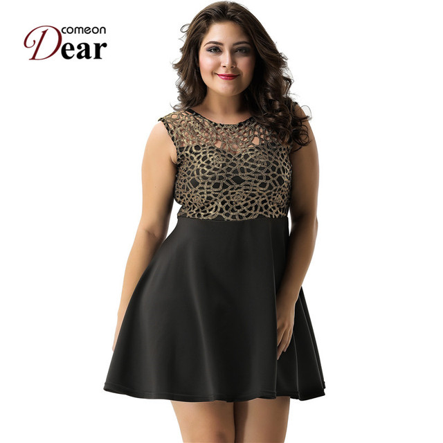 798b9c2865bd8 US $19.48 22% OFF|Comeondear RA7820 Women A Line Mini Dress O neck Short  Party Casual Skater Dress Hollow Out Sleeveless Dress With Waist Belt-in ...