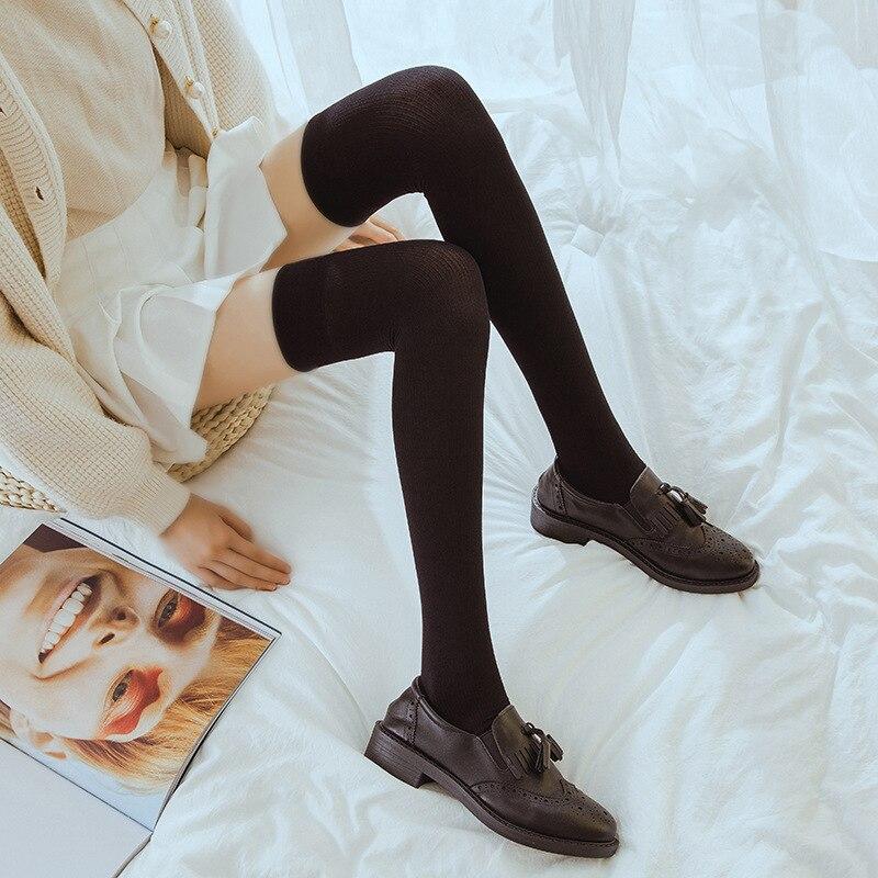 Jeseca 1Pair Women's Fashion Over Knee Thigh High Elastic Sexy Stockings Japanese Kawaii School Students Winter Warm Stockings