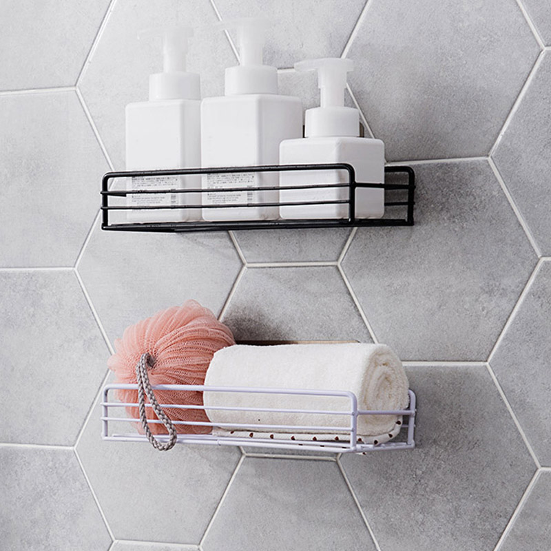 Iron Kitchen Bathroom Shower Shelf Storage Suction Basket Caddy Rack Easy to install without installation traces _WK in Bathroom Shelves from Home Improvement