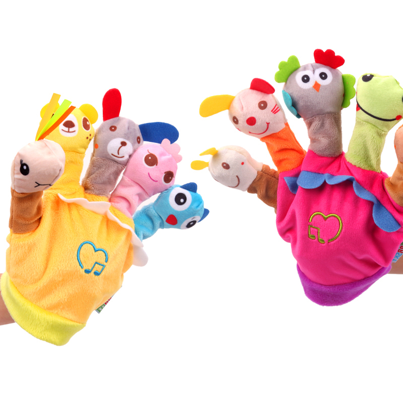 2019 New Baby Toys Cute Animal Hand Puppet With Music Finger Doll Kindergarten Children Story Good Helper Toys