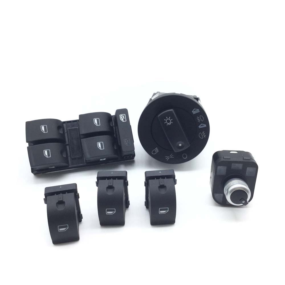 6pcs Window Panel Headlight + Mirror Switch Control For Audi A4 B6 Sedan 8E0941531A,8ED959851,8E0959855,4FD959565,8E0 941 531A