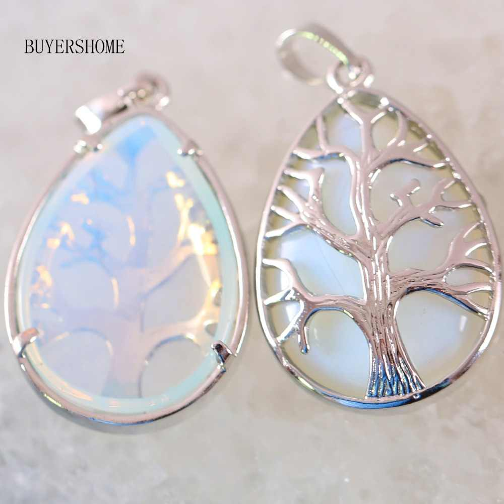 25x40MM Silver Color Tree of life Water Drop Necklace Pendant Natural Gem Stone Bead Light Blue Opal 1Pcs K447