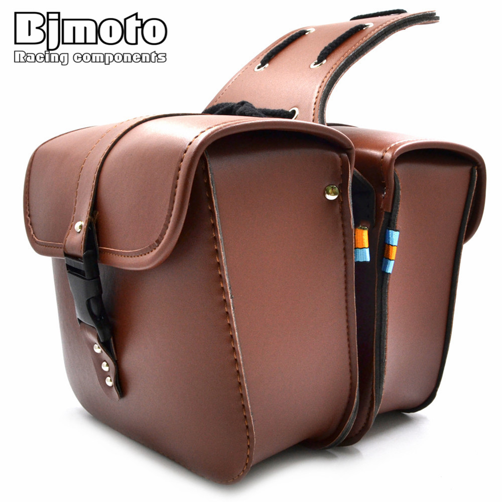 BJMOTO Motorcycle Saddle Bags PU Leather Motorbike Side Tool Pouch Tail Bag Luggage Borsello Moto Universal BAG-011-FE