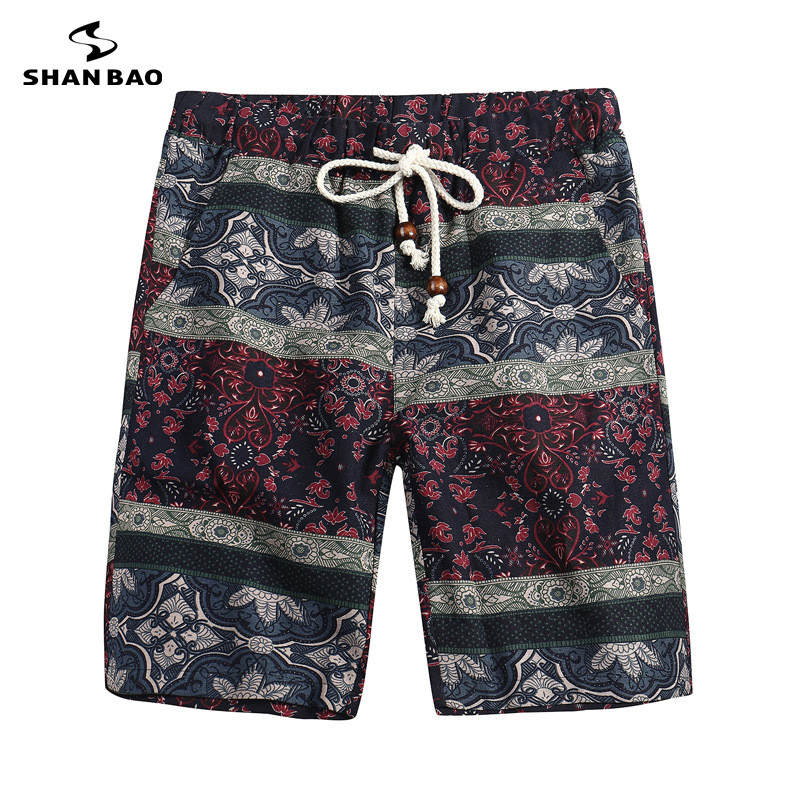 SHAN BAO Brand Clothing Shorts Flowers Flowers Pattern 2018 Summer Thin Hawaiian Casual Shorts Men Women Size M-5XL