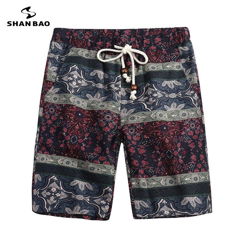 SHAN BAO Marque Vêtements Shorts Fleurs Fleurs Motif 2018 D'été Mince Hawaïen Shorts Occasionnels Hommes Femmes Taille M-5XL