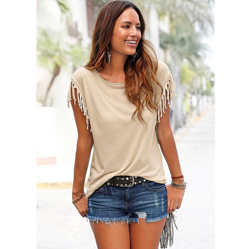 HTB1Bzs0KVXXXXXKXXXXq6xXFXXXO - New Summer Cotton Tassel Short Sleeve Tee Casual O-Neck