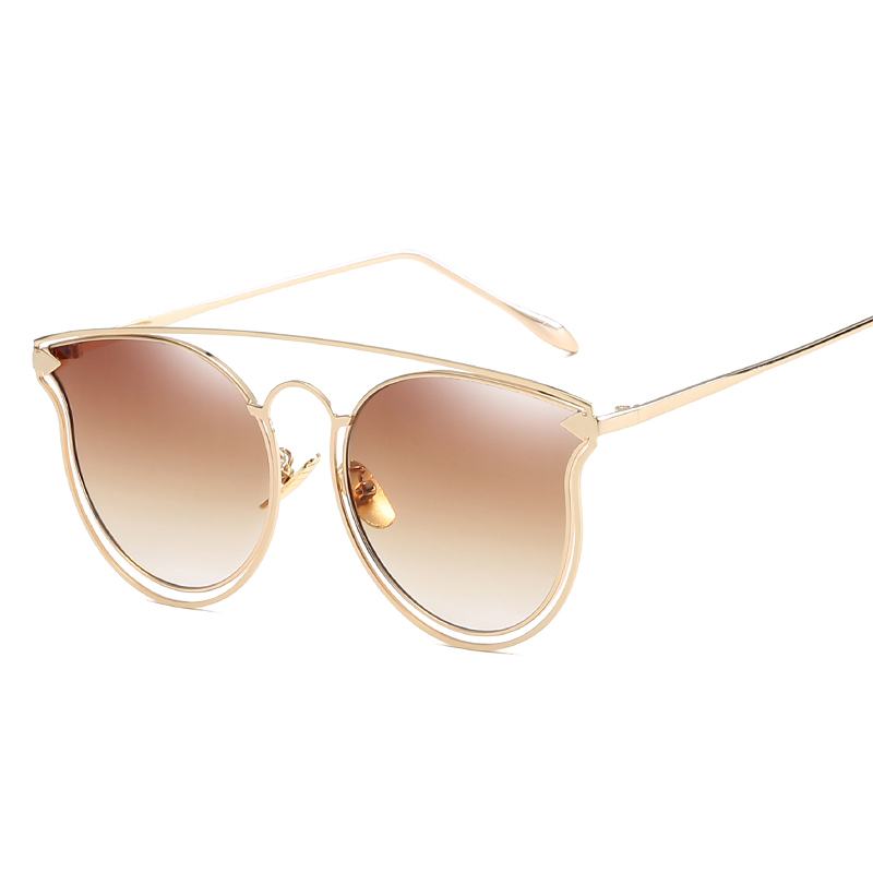F.J4Z 2017 New arrival Fashion Women Sunglasses Brand Designer Metal Hollow Frame Men Sunglasses Flat Coating Mirror Lens UV400