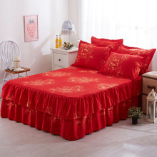 3 IN 1 Graceful Floral Bed Skirt Sheet Cover Bedspread Lace Bed Sheet Bedroom Bed Skirt for Wedding Housewarming Gift 150x200cm