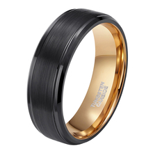 Somen Ring Men 8mm Black Tungsten Carbide Brushed Gold Inlay Male Vintage Wedding Band Engagement Rings anillos hombre