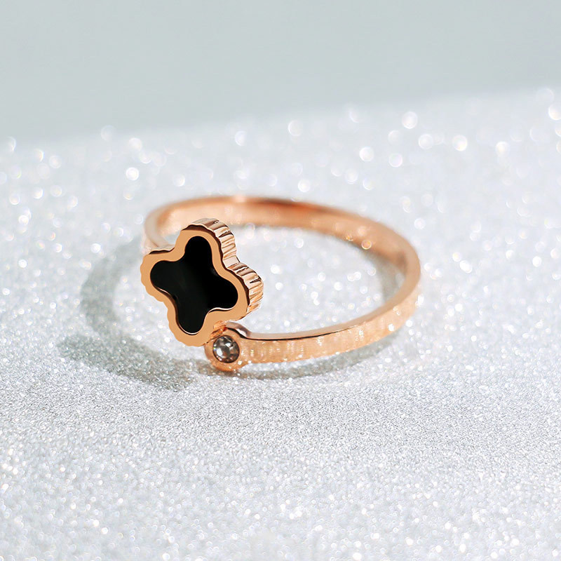 Fashion Rose Gold Clover Ring For Girl Woman Crystal Adjustable Ring Rhinestone Luxury Brand Jewelry Design for girl gifts