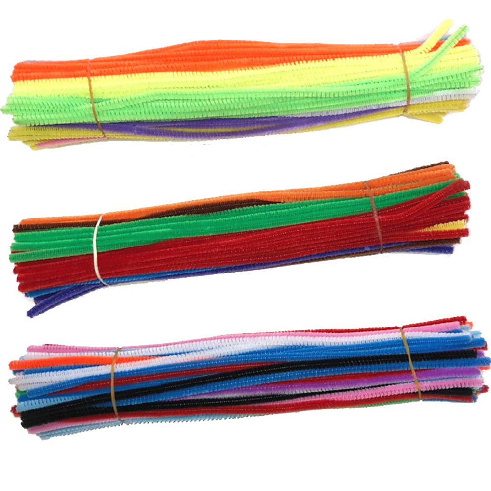 100 Pcs DIY Children's Toys Kindergarten Handmade Hair Roots 10 Colors Mixed Color With Colored Tops Twisted Rods Handmade Mater