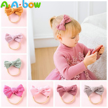 Bow-Headband Hair-Accessories Babys Bowknot Nylon Elastic Corduroy 1pcs Solid for Lovely
