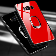 Tempered Glass Protective Magnetic Phone Case For Samsung Galaxy s8 s9 Plus Note 8 360 Hard Full Cover Case With Ring Holder