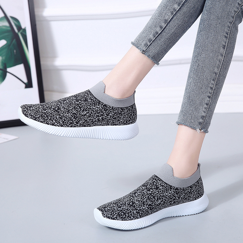 HTB1BzsRac vK1RkSmRyq6xwupXaV Rimocy plus size breathable air mesh sneakers women 2019 spring summer slip on platform knitting flats soft walking shoes woman