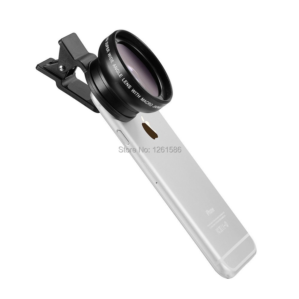 Universal Professional HD Camera Lens Kit for Iphone , Samsung Galaxy  Mobile Phone (0.45x Super Wide Angle Lens + 12.5x Super Macro Lens + 37mm Thread Clip Holder)-a1