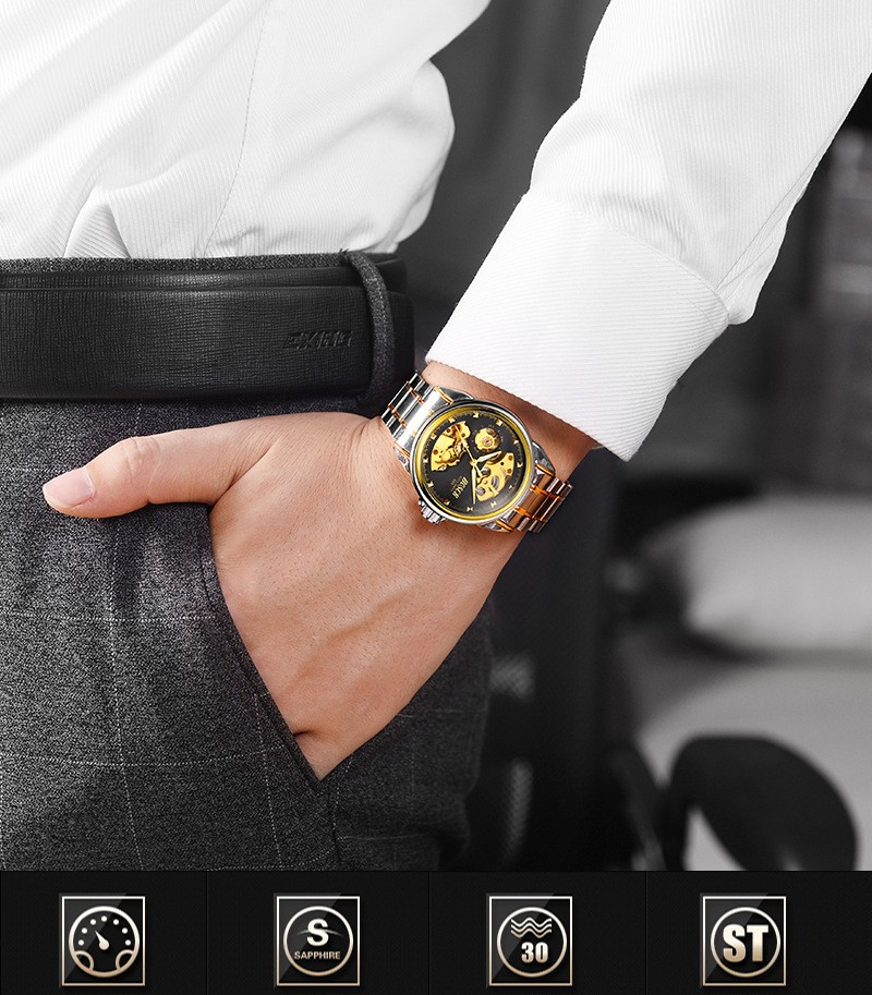 HTB1BzsYboGF3KVjSZFoq6zmpFXa9 Men's Watches Automatic Mechanical Gold Watch Male Skeleton Dial Waterproof Stainless Steel Band Bosck Sports Watches Self Wind