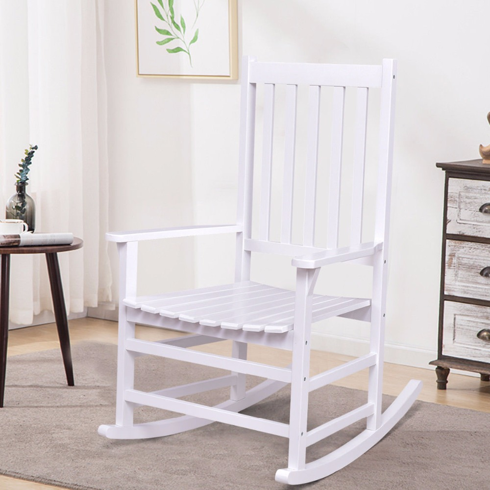 Giantex Solid Wood Rocking Chair Rocker Porch Indoor Outdoor Patio Furniture White New Living Room Furniture HW56203 carbonized wood outdoor balcony living room lounge chair recliner chairs rocking happy old