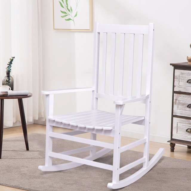 White Wood Rocking Chair Plastic Folding Chairs Giantex Solid Rocker Porch Indoor Outdoor Patio Furniture New Living Room Hw56203