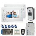 7`` video door phone intercom system 2 montiors 1 camera access control system video recording+electronic lock