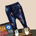 Мальчики джинсы Модные Мальчики Джинсы для Весна Осень детские Брюки Джинсовые Дети Темно-Синий Брюки,