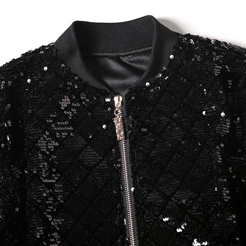 Noir Preppy Taille Yuxinfeng Plus Sequin Base Veste Womenlong Casual Lady Jackets De Bomber La Manches Streetwear Zipper Piste Manteau 0EqwA6AC