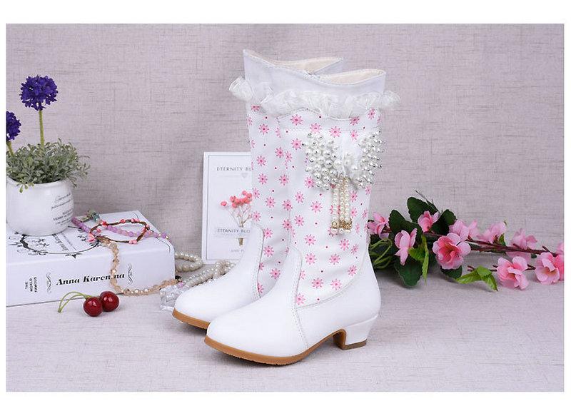 2018 Fashion Girls Winter Snow High Boots Dzieci PU Leather Boots - Obuwie dziecięce - Zdjęcie 5