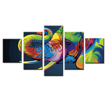 5 panel framed Abstract colorful elephant canvas wall art painting home decoration living room print modern
