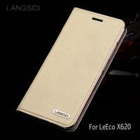 wangcangli leather calfskin litchi texture For LeEco X620 flip phone case all handmade custom