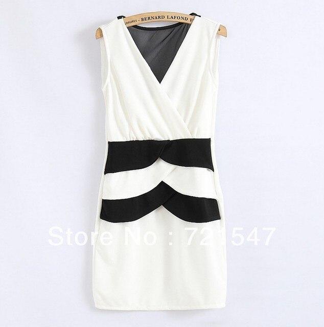 2013 fashion simple  chiffon Sexy back dress, high waist line v-neck sleeveless
