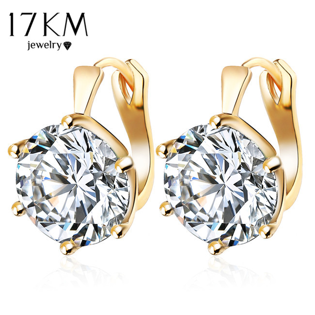 17KM New Fashion Statement bijoux 7 Färg Vintage Punk Silver Färg Crystal Flower Stud Örhängen till Kvinnor Wedding Love Earring