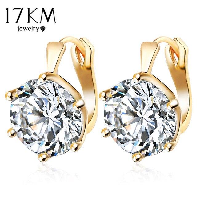 17KM New Fashion Statement bijoux 7 Color Vintage Punk Silver Color Crystal Flower Stud Earrings for Women Wedding Love Earring