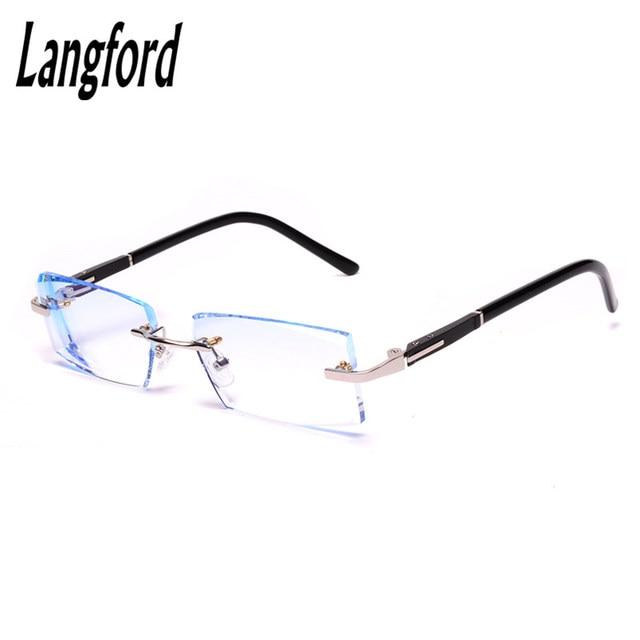 19766cb163e4 langford Rimless glasses man prescription eyeglasses frame men optical  glasses Diamond cutting lenes luxury Business 8305