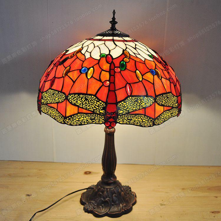 18 polegada red dragonfly sala de estar lâmpada barra tiffany europeia liga fundo iluminação retro nostalgia exportação lâmpadas - 2
