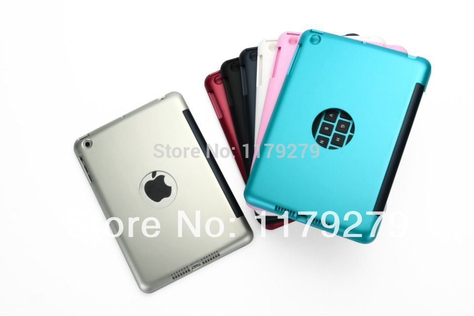 NEW Ultrathin Aluminium Wireless Bluetooth Keyboard ABS upper Cover Case for iPad mini Free shipping