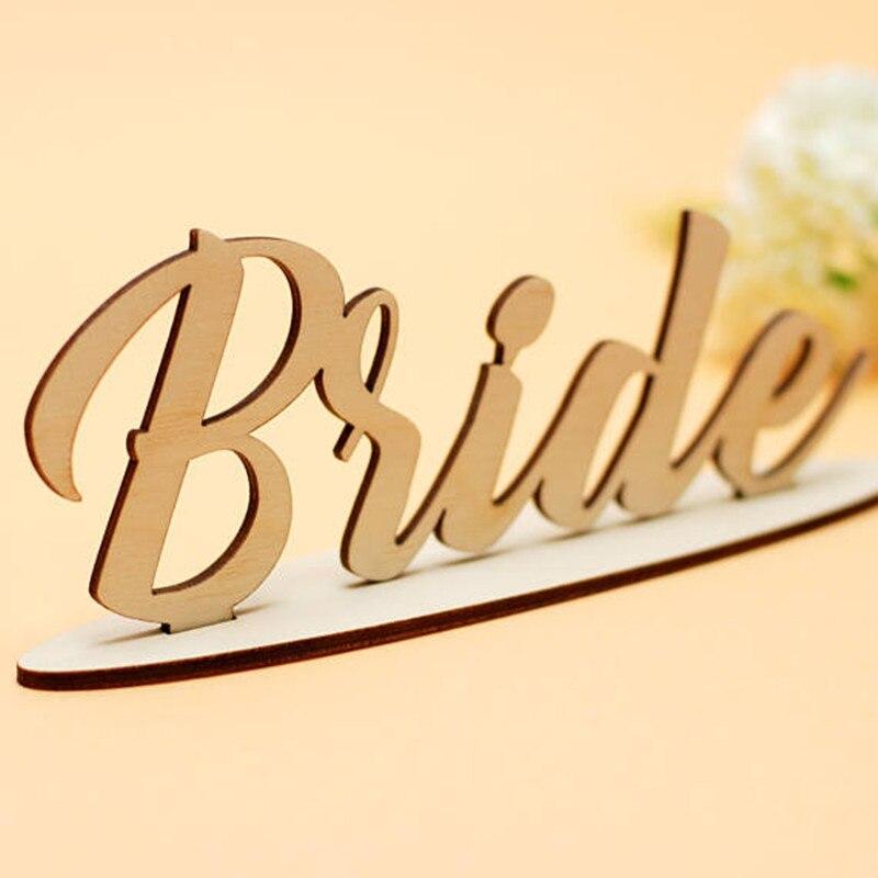 1 шт. деревянный Лазерная резка невеста Знак Древесины автономный невесты знак Свадебные ...
