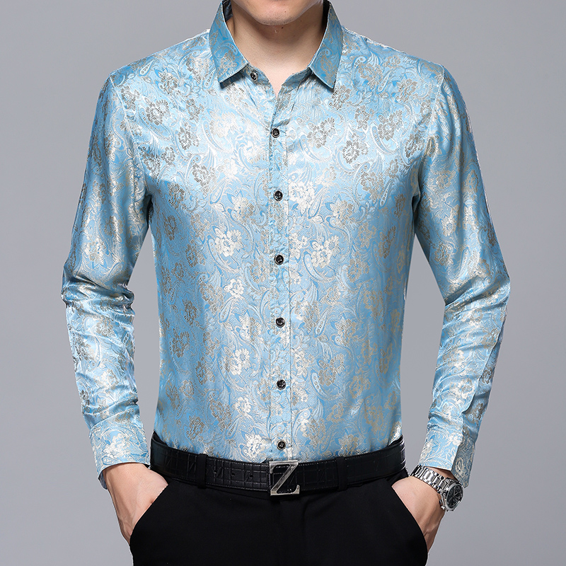 Hot selling mens floral dress shirt long sleeve silk shirt male fashion printing thin soft satin silk clothes