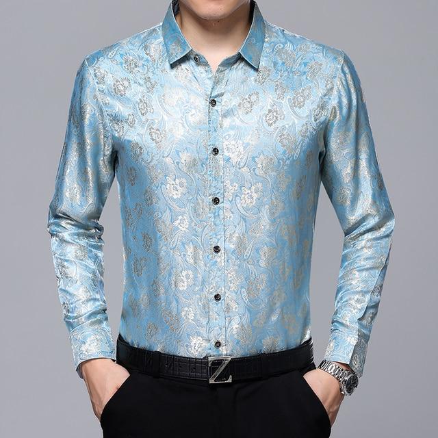 Hot selling mens floral dress shirt long sleeve silk shirt for Long sleeve silk shirt dress