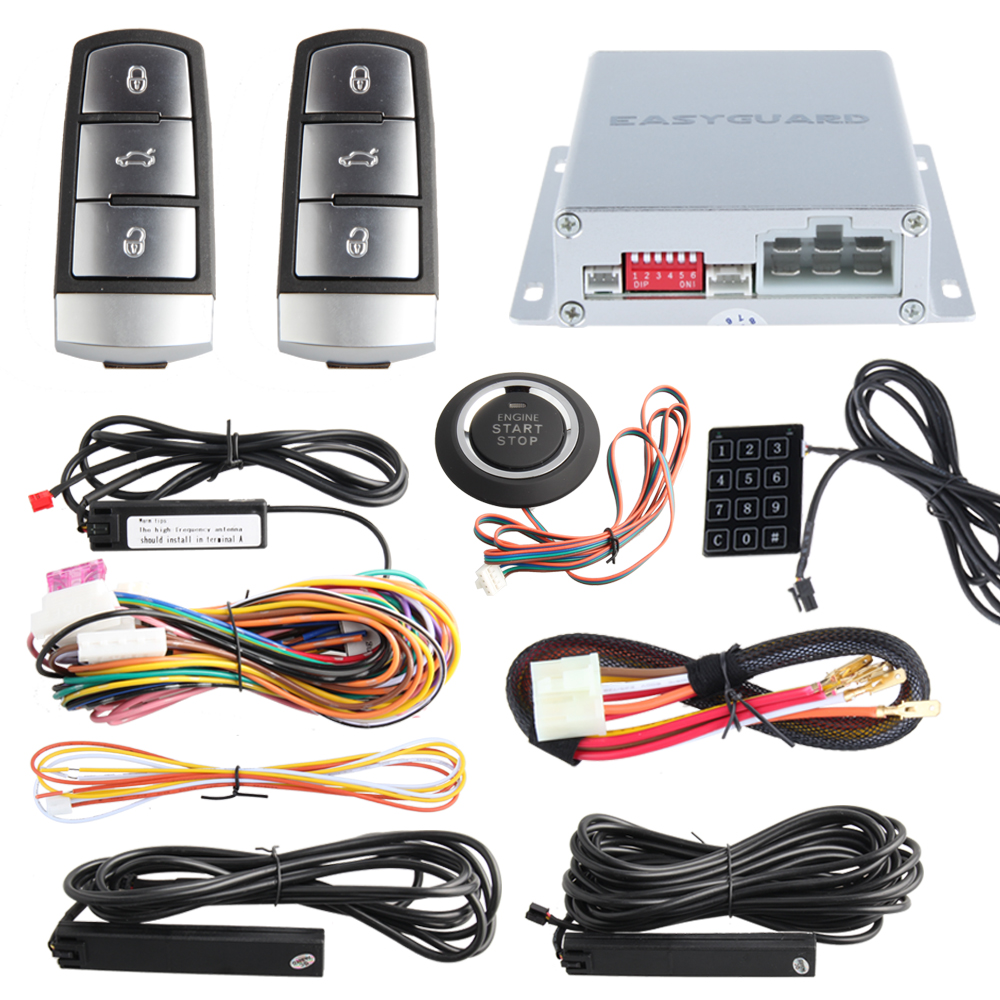 Easyguard Push Button Start Pke Car Alarm System Remote Engine Start Stop Touch Password Entry