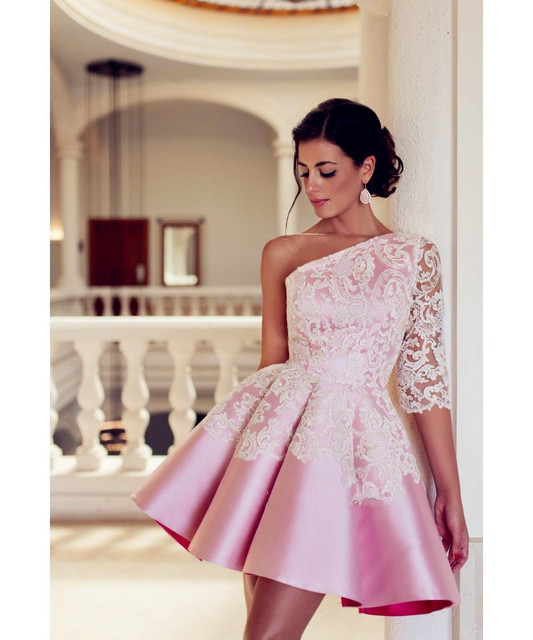 2017 Beautiful Style Cocktail Dresses Party Dresses Stain Above Knee Length  One Shoulder Lace Appliques Hot Sale Half Sleeves a2e7b01ef