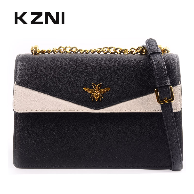 KZNI Genuine Leather Crossbody Bags for Women Leather Small Handbags Female Women Bag Chain Classic Flap Bag Bolsos Mujer 9138 new 2018 classic patchwork flap crossbody bag for female women canvas