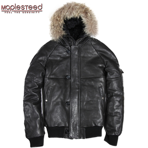 Image 2 - MAPLESTEED Genuine Leather Duck Down Jacket Men Hood Real Sheepskin Air Force Pilot Thick Bomber Real Fur Parkas Winter Coat 144