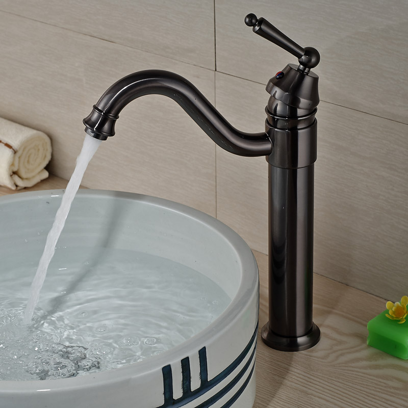 Luxury Long Neck Bathroom Sink Vessel Faucet One Hole Single Handle Basin Mixer Tap Oil Rubbed